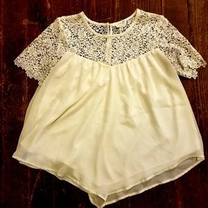Cream Colored Top with Lace and Button Detail